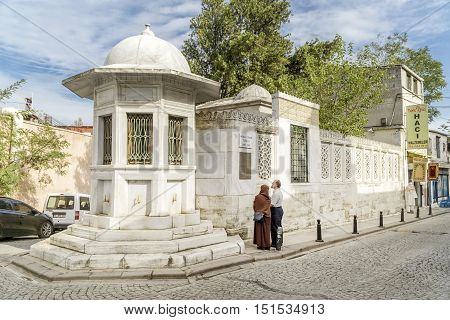 ISTANBUL, TURKEY, OCTOBER 11,2016: Exterior shot of Mimar Sinan's Tomb (Sinan the Architect),the chief Ottoman architect and civil engineer for Suleiman the Magnificent, Selim II, and Murad III.