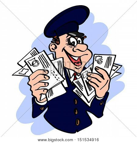 Jolly postman in the blue cap with the letters in his hands. Vector cartoon concept of mail.