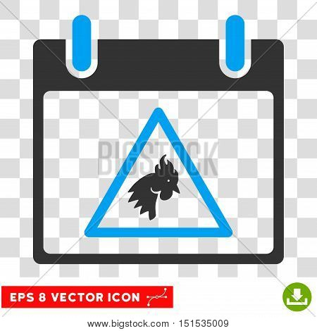 Vector Rooster Warning Calendar Day EPS vector icon. Illustration style is flat iconic bicolor blue and gray symbol on a transparent background.