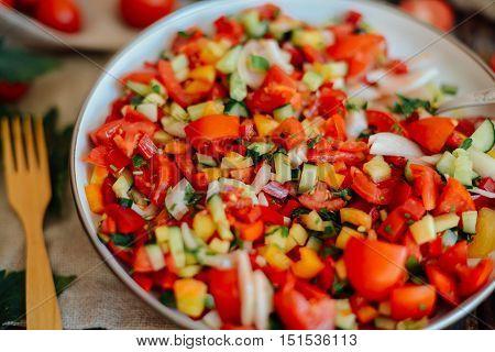 Mixed Salad With Radish. Caprese Salad. Cherry Tomato Mozzarella