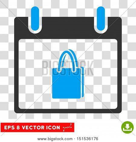 Vector Shopping Bag Calendar Day EPS vector pictograph. Illustration style is flat iconic bicolor blue and gray symbol on a transparent background.