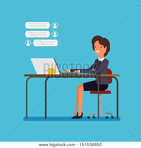 Live chat concept, cartoon businesswoman is chatting. Flat design, vector illustration.