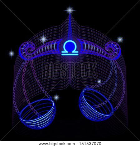 Neon signs of the Zodiac: Libra. A series of signs of the zodiac. Made in neon art. On a black background constellations.