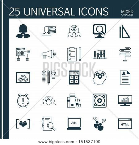 Set Of 25 Universal Icons On Collaborative Solution, Website Performance, Analysis And More Topics.