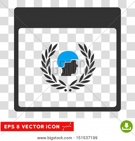 Vector Soldier Laurel Wreath Calendar Page EPS vector pictogram. Illustration style is flat iconic bicolor blue and gray symbol on a transparent background.