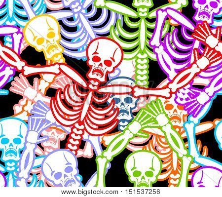 Multicolored Skeleton Ornament. Day Of The Dead Seamless Pattern. Skull Texture. Dead Background For