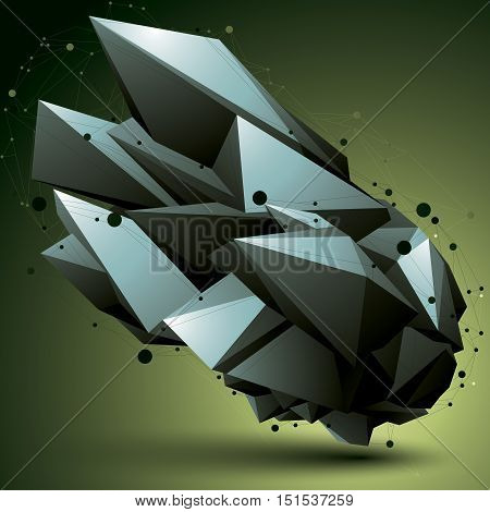 3D Mesh Modern Stylish Abstract Construction, Origami Facet Object Constructed From Different Geomet