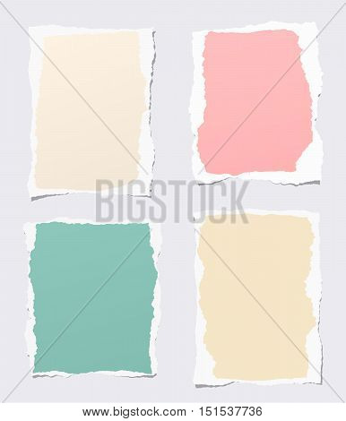 Pieces of ripped colorful blank notebook paper stuck on gray background.