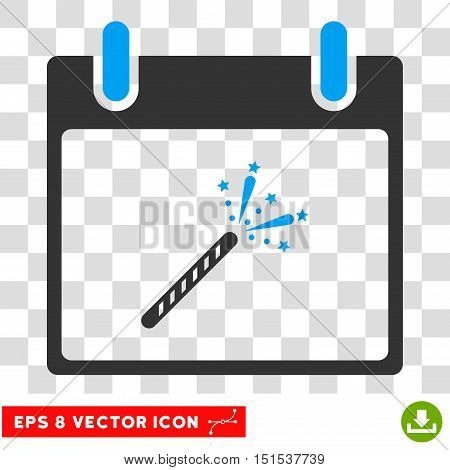 Vector Sparkler Firecracker Calendar Day EPS vector icon. Illustration style is flat iconic bicolor blue and gray symbol on a transparent background.