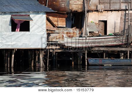 Shanty Squatter Homes Along River In Asia