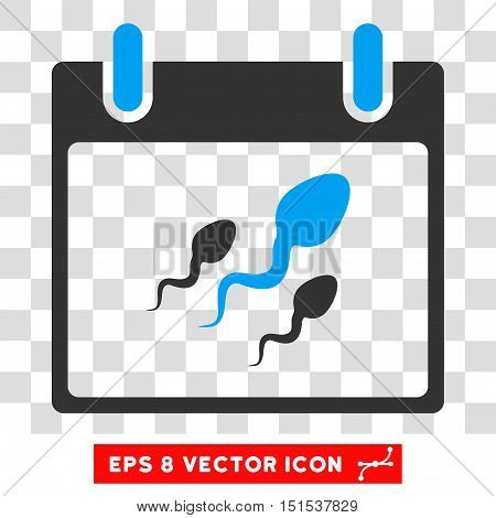 Vector Sperm Calendar Day EPS vector pictogram. Illustration style is flat iconic bicolor blue and gray symbol on a transparent background.