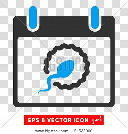 Vector Sperm Insemination Calendar Day EPS vector icon. Illustration style is flat iconic bicolor blue and gray symbol on a transparent background.
