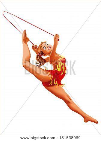 Rhythmic Gymnastics Rope Athletes Sportswoman Games on a white background