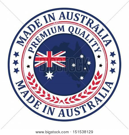 Made in Australia, Premium Quality - label / stamp / badge with the Australian map and flag on the background