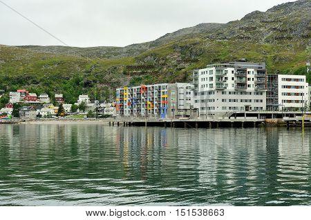 view of Hammerfest City Finnmark province Norway