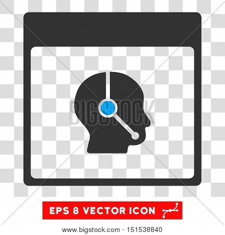 Vector Telemarketing Operator Calendar Page EPS vector pictograph. Illustration style is flat iconic bicolor blue and gray symbol on a transparent background.
