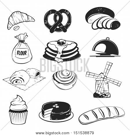 Bakery set Bread slice, wheat, bun, cake with cherry, biscuit, donut, baguette, flour sack, pretzel, croissant wind mill pastry and rolling-pin platter cupcake cake