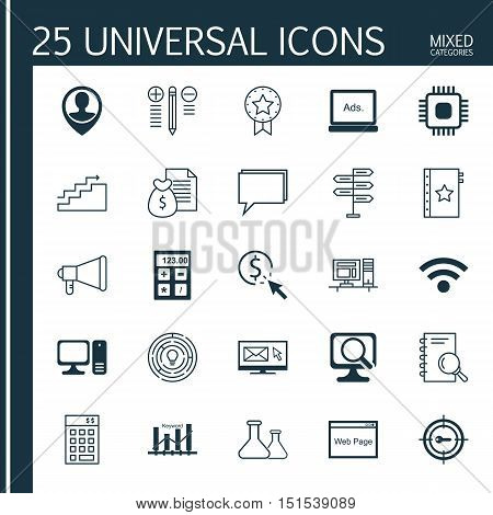 Set Of 25 Universal Icons On Ppc, Keyword Optimisation, Decision Making And More Topics. Vector Icon
