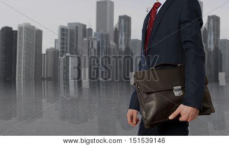 Portfolio investor. Businessman with briefcase. Business concept