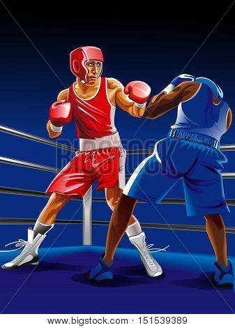Two boxers fighting on the ring, one is punching another