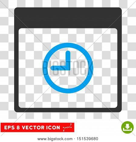 Vector Time Calendar Page EPS vector pictogram. Illustration style is flat iconic bicolor blue and gray symbol on a transparent background.