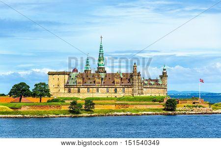 View of Kronborg Castle from Oresund strait in Denmark