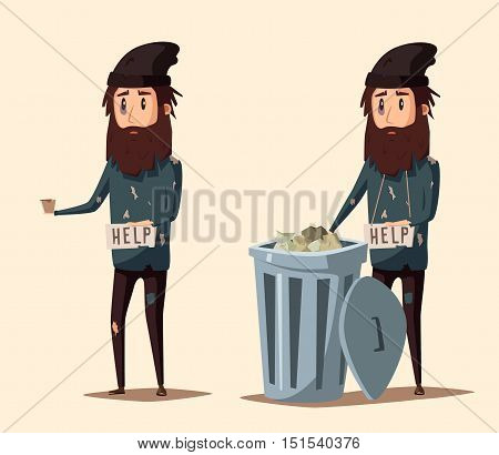 Sad unemployed beggar. Homeless. Man in dirty rags. Character in torn clothes. Human holding sign
