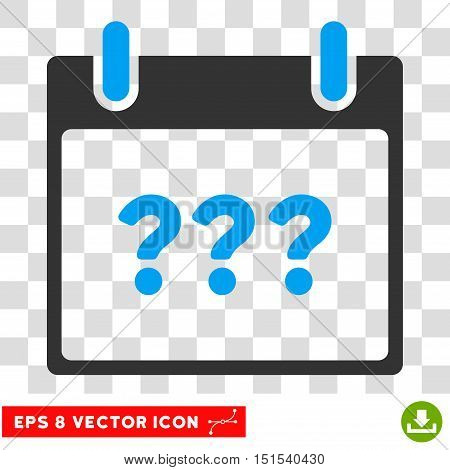 Vector Unknown Day Calendar Page EPS vector icon. Illustration style is flat iconic bicolor blue and gray symbol on a transparent background.