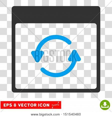 Vector Update Calendar Page EPS vector icon. Illustration style is flat iconic bicolor blue and gray symbol on a transparent background.