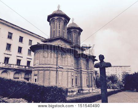 Kretzulescu Cretulescu church with Corneliu Coposu statue Bucharest Romania