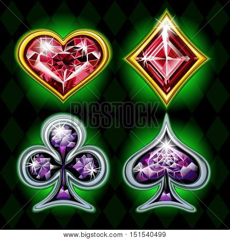 Set of diamond-style card suits. Card Suits for Your Design. Vector.