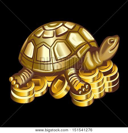 Collection of mascots: bronze turtle on coins. Vector objects talismans Feng Shui on a black background.