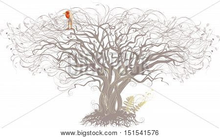 Silhouette of a tree with beige sitting bird.
