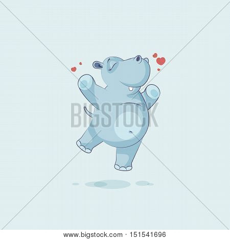 Vector Stock Illustration isolated Emoji character cartoon Hippopotamus jumping for joy, happy sticker emoticon for site, info graphics, video, animation, websites, mails, newsletters, reports, comics