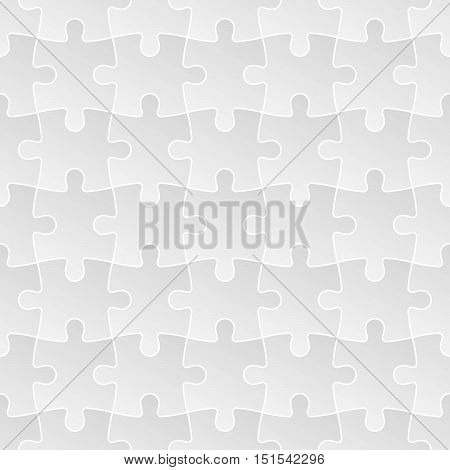 Jigsaw puzzle mosaic seamless background. Each of puzzle pieces in linear arrangement has own grey gradient and white outline. Simple flat vector illustration.