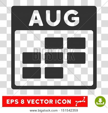 Vector August Calendar Grid EPS vector pictograph. Illustration style is flat iconic gray symbol on a transparent background.