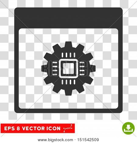 Vector Chip Gear Calendar Page EPS vector icon. Illustration style is flat iconic gray symbol on a transparent background.