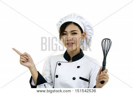 Asian Young Woman Chef Cook Isolated On White