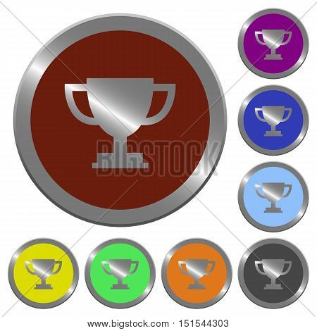 Set of color glossy coin-like trophy cup buttons