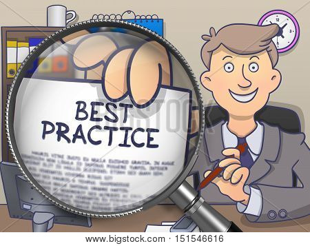 Best Practice on Paper in Businessman's Hand through Lens to Illustrate a Business Concept. Multicolor Doodle Style Illustration.