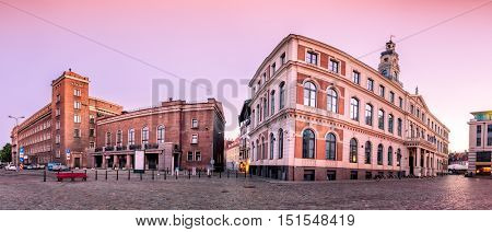City Hall Square with City Hall and Techical university central building in Riga Old Town