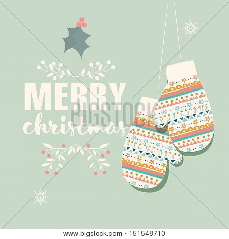 Merry Christmas postcard with mittens and decoration vector illustration