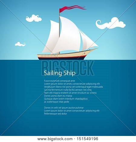 Yacht on the Waves and Text, Sailing Vessel at Sea, Travel Concept , Poster Brochure Flyer Design, Vector Illustration