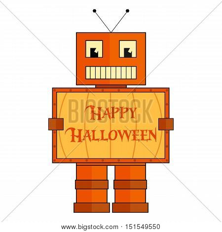 Stylized vector halloween robot in pumpkin costume. Orange robot with board with Happy Halloween text.