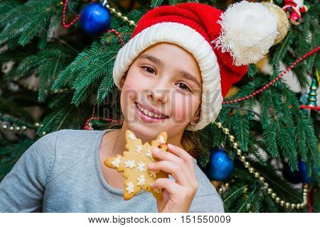Christmas portrait of 10 year old girl with ginger biscuits
