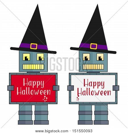 Stylized vector halloween robots with witch hats. Metal robots with boards with Happy Halloween text.