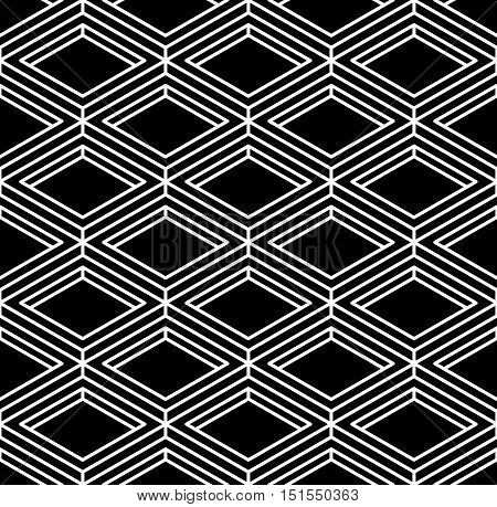Monochrome illusory abstract geometric seamless pattern with 3d geometric figures.