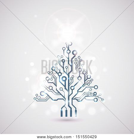 Vector circuit board shining christmas tree for business card or background