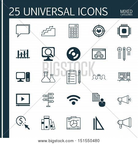Set Of 25 Universal Icons On Media Campaign, Conference, Video Player And More Topics. Vector Icon S