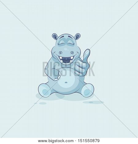Vector Stock Illustration isolated Emoji character cartoon Hippopotamus approves with thumb up sticker emoticon for site, info graphics, video, animation, websites, mails, newsletters, reports, comics
